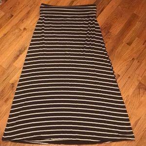 Dark brown and white striped maxi skirt